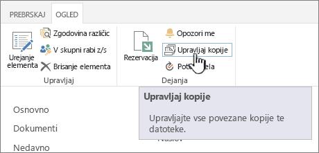 Upravljanje kopij na traku vir