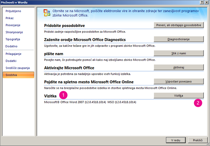 Okno »Viri« v razdelku »Wordove možnosti« v programu Word 2007