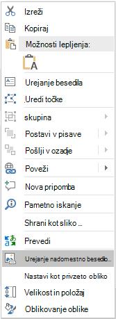 Meni za urejanje nadomestnega besedila v PowerPointu Win32 za oblike