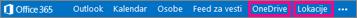 """Office 365 navigacija sa prikazanom lokacijom stavki """"OneDrive for Business"""" i """"Lokacije"""""""