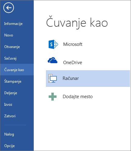 Prozor Sačuvaj kao koji prikazuje listu mesta na kojima možete da sačuvate dokumente