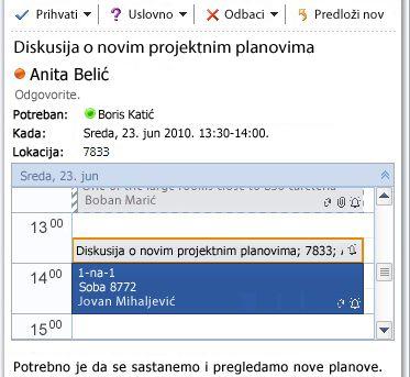 Brzi prikaz kalendara u poruci sa zahtevom za sastanak