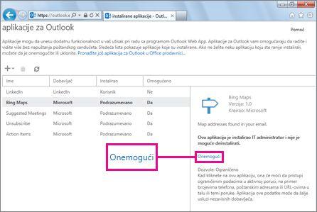 Onemogućavanje aplikacije za Outlook