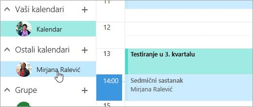 Snimak ekrana deljeni kalendar.