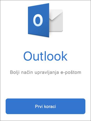 """Snimak ekrana programa Outlook sa dugmetom """"Prvi koraci"""""""