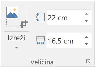 Snimak ekrana koji prikazuje postavke za visinu i širinu