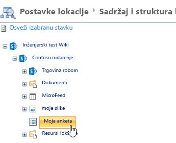 U prozoru menadžera lokacije, kliknite na dugme ankete na traci za brzo pokretanje
