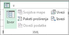"""Na priručnoj traci izaberite stavku """"XML"""""""