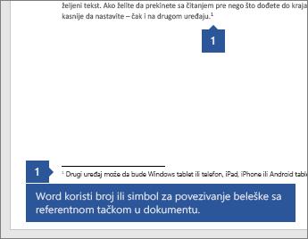 Word koristi broj ili simbol želite da dodelite belešku referenca mesta u dokumentu