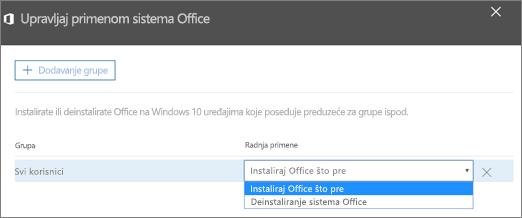 """U oknu """"Upravljanje primenom sistema Office"""" odaberite opciju """"Instaliraj Office što pre"""" ili """"Deinstaliraj Office""""."""