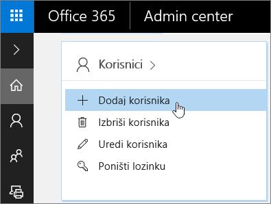 Snimak ekrana mesta na kom se dodaju korisnici u Office 365 centru administracije
