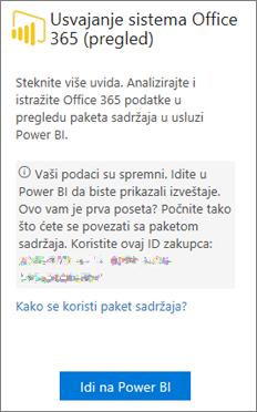"""Na kartici """"Office 365 Adoption"""" odaberite stavku """"Idi u PowerBI"""""""