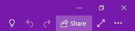 """Gornji desni ugao prozora programa OneNote u kom je prikazana lokacija dugmeta """"Deli""""."""