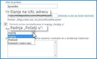 """Snimak ekrana odeljka """"Postavke veza"""" stranice """"Veza 'Pošalji u'"""" u SharePoint Online centru administracije. Ovde možete navesti URL adresu za odredišnu lokaciju organizatora sadržaja."""