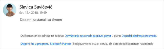 Hvatanje ekrana: koja prikazuje e-pošte na grupu kojoj saradnika odgovarate na prvi komentar.