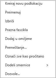 Kontekst ili prečica, meni koji se pojavljuje kada kliknete desnim tasterom miša na ličnu fasciklu