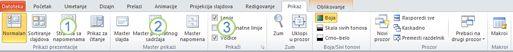 """Kartica """"Prikaz"""" na traci programa PowerPoint 2010."""