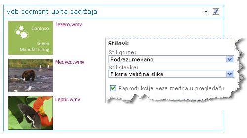 Veb segment upita sadržaja konfigurisan pomoću fiksne veličine slike