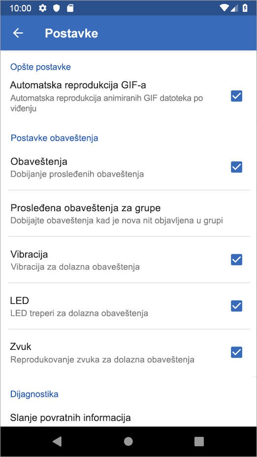 Yammer Android postavke opcija