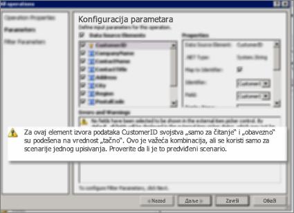 """Snimak ekrana 2 dijaloga """"Sve operacije"""" u programu SharePoint Designer. Ova stranica prikazuje upozorenja koja objašnjavaju postavke za ključna svojstva na listi."""