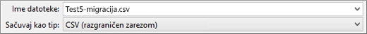 """Prikazuje opciju """"Sačuvaj kao CSV"""" u programu Excel"""