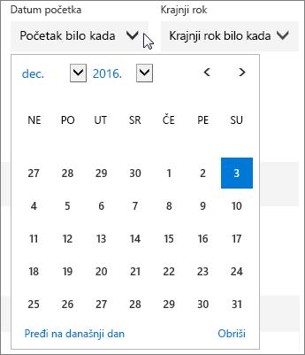"""Snimak ekrana razvijenog menija """"Datum početka"""" za zadatak u aplikaciji Planner."""