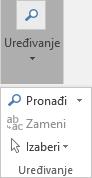 Odaberite oblikovanje teksta i zatim uređivanje da biste otvorili padajuće liste
