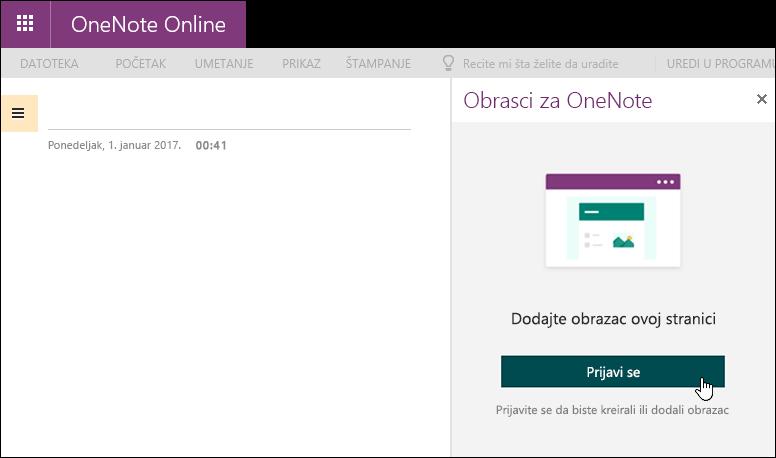 "Tabla ""Obrasci za OneNote"" u usluzi OneNote Online"