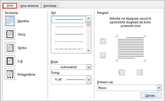 Word 2010 Borders and Shading dialog box