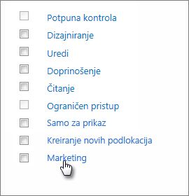 "Izbor nivoa usluge ""Marketing""."