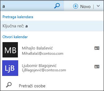 Lista pretrage kalendara koja se pojavljuje kada otkucate nešto u polje za pretragu kalendara i podudara se sa imenom na spisku kontakata ili u direktorijumu.
