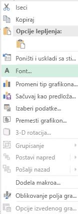 Snimak ekrana opcija dostupnih u priručnom meniju nakon izbora oznaka ose kategorije, uključujući markirana opcije fonta.