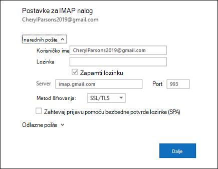 Izaberite stavku Postavke servera da biste promenili postavke za korisničko ime, lozinku i server.