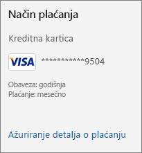 """Odeljak """"Način plaćanja"""" na stranici """"Pretplata"""", koji prikazuje vezu """"Ažuriranje detalja o plaćanju""""."""