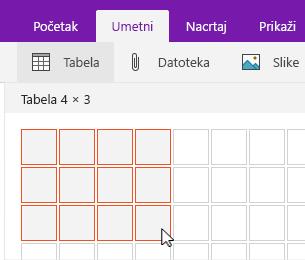 """Komanda """"Umetni tabelu"""" koja prikazuje koordinatnu mrežu za izbor"""