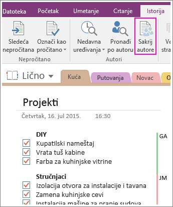 """Snimak ekrana dugmeta """"Sakrij autore"""" u programu OneNote 2016."""