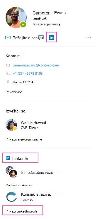 Prikazi profila za vezu