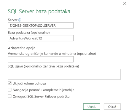 Power Query SQL Server baze podataka za povezivanje dijaloga