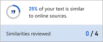 Kontrolor sličnosti prikazuje procenat potencijalno neoriginalnog teksta i broj prolaza do pregleda.