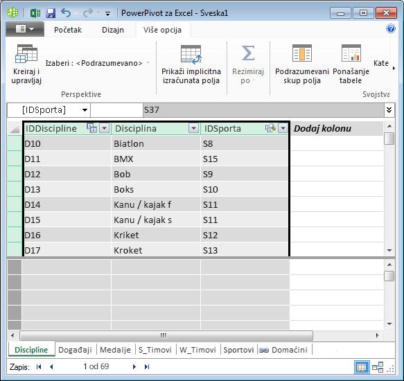kopiranje polja u programskom dodatku Power Pivot