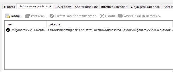 """Kartica """"Datoteke sa podacima"""" za postavke Outlook naloga koja prikazuje lokaciju Outlook datoteke sa podacima za imenovanog korisnika"""