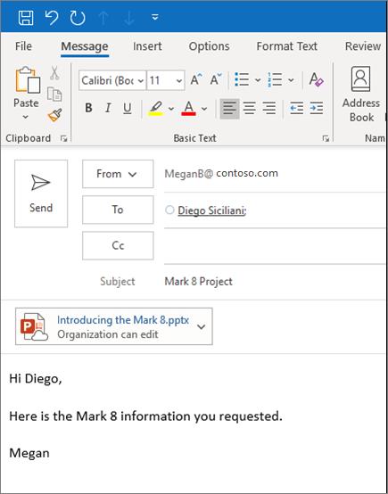 Deljenje datoteke kao priloga