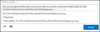 URL adresa dokumenta nalepljena u poruku feeda za vesti