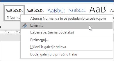 Kliknite desnim tasterom miša normalnog stila i odaberite stavku izmeni