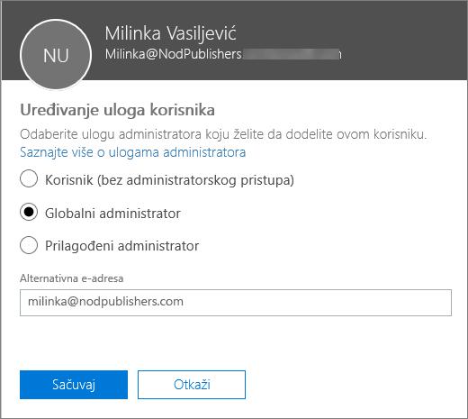 """Okno """"Uređivanje uloga korisnika"""", gde možete da promenite uloge korisnika i alternativne adrese e-pošte."""