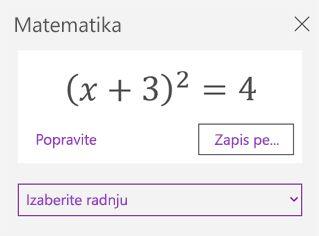 Matematičke jednačine u oknu zadatka matematičkih izraza