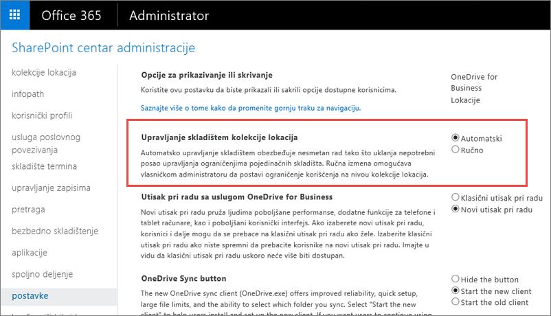 Office 365 SharePoint Online postavke ekran sa Management kolekcije lokacija istaknuta