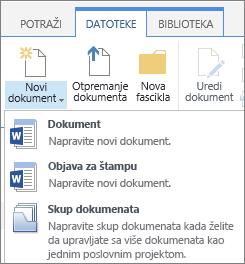 """Dugme """"novi dokument"""" sa padajuće liste na traci"""