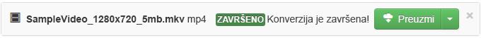 Kada se završi proces konverzije, pojavljuje se zeleno dugme Download (Preuzmi) da biste medijsku datoteku mogli da kopirate na računar