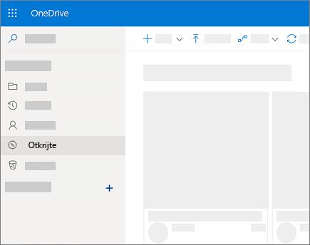 """Snimak ekrana prikaza """"Otkrivanje"""" u usluzi OneDrive for Business"""